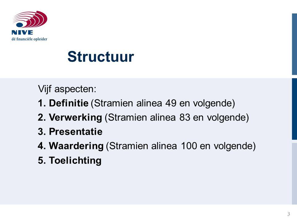 Structuur Vijf aspecten: Definitie (Stramien alinea 49 en volgende)