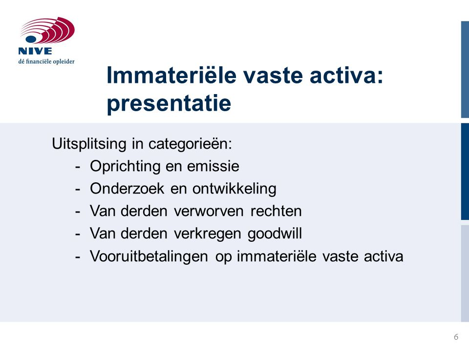 Immateriële vaste activa: presentatie