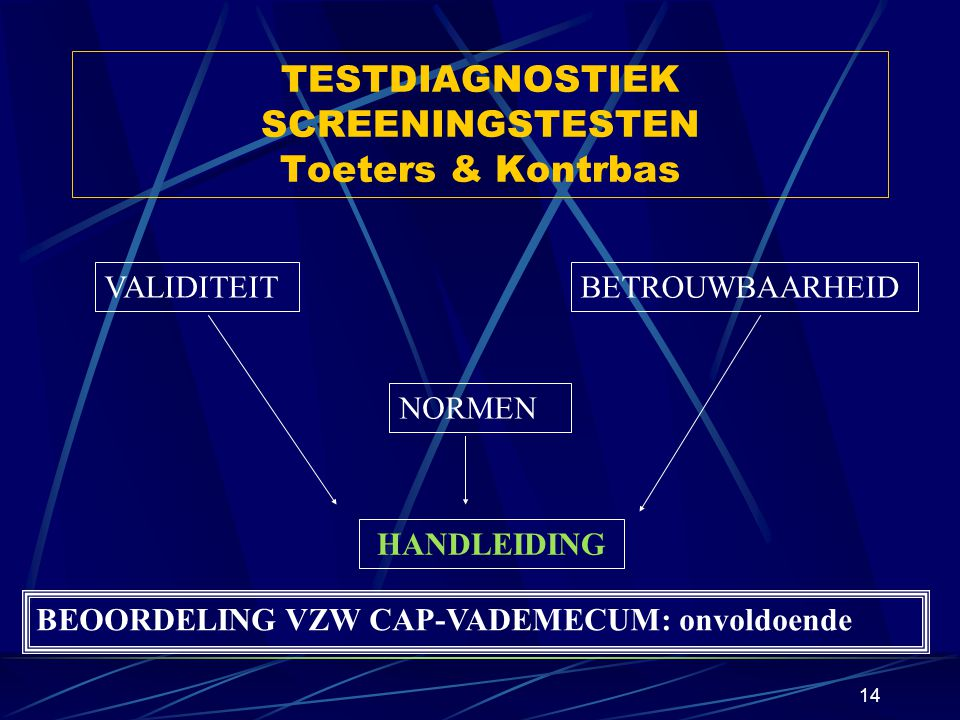 TESTDIAGNOSTIEK SCREENINGSTESTEN Toeters & Kontrbas
