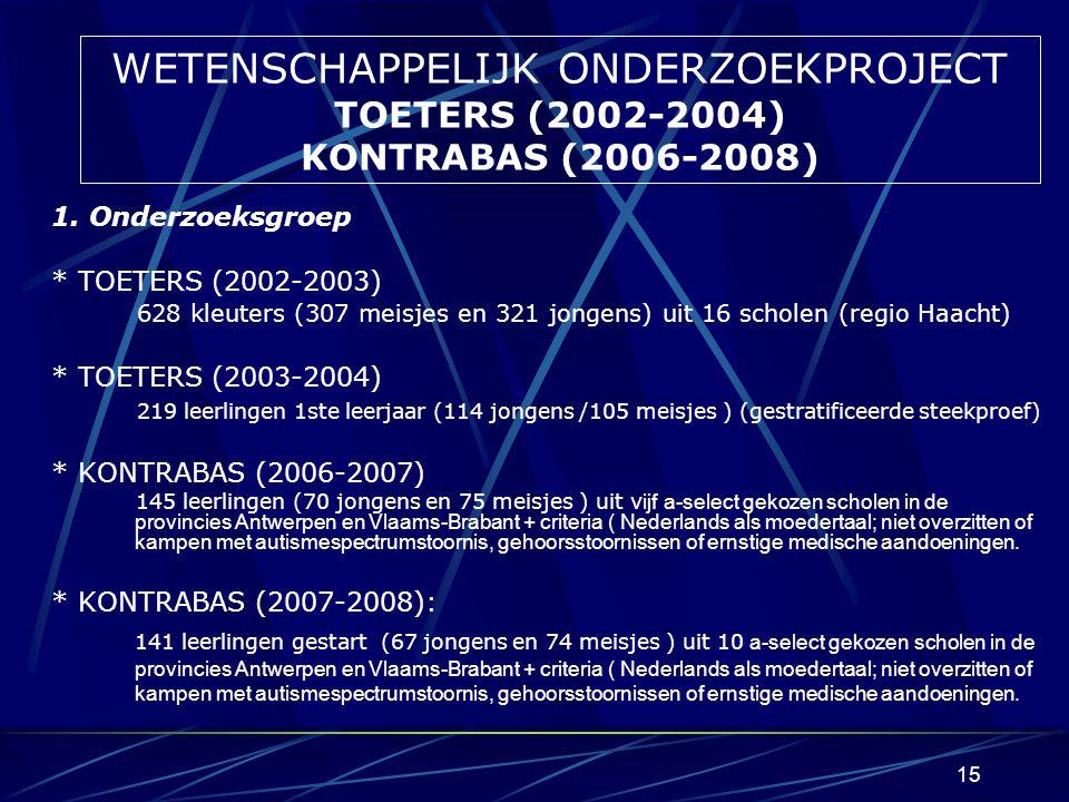 WETENSCHAPPELIJK ONDERZOEKPROJECT TOETERS (2002-2004) KONTRABAS (2006-2008)