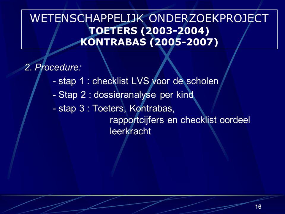 WETENSCHAPPELIJK ONDERZOEKPROJECT TOETERS (2003-2004) KONTRABAS (2005-2007)