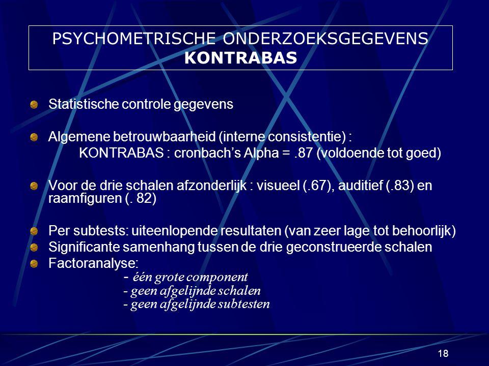 PSYCHOMETRISCHE ONDERZOEKSGEGEVENS KONTRABAS