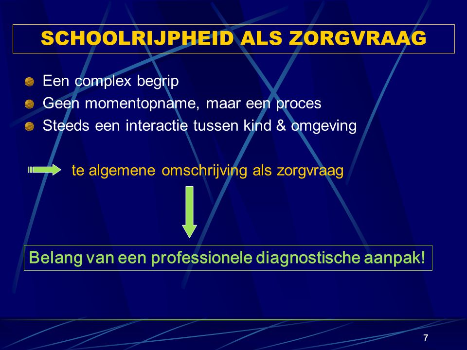 SCHOOLRIJPHEID ALS ZORGVRAAG