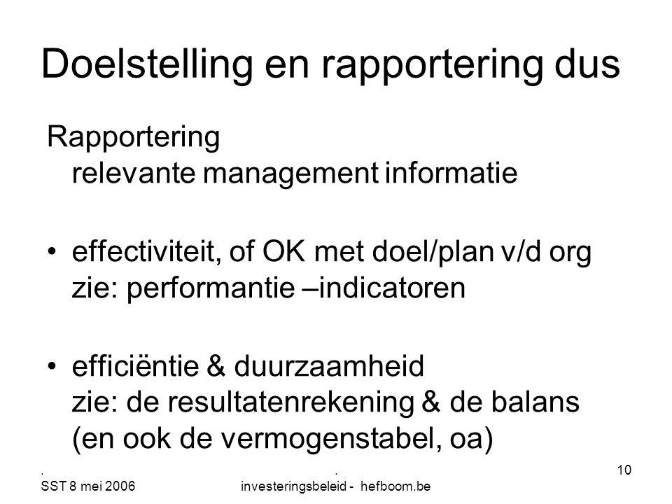 Doelstelling en rapportering dus