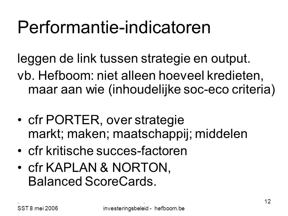 Performantie-indicatoren