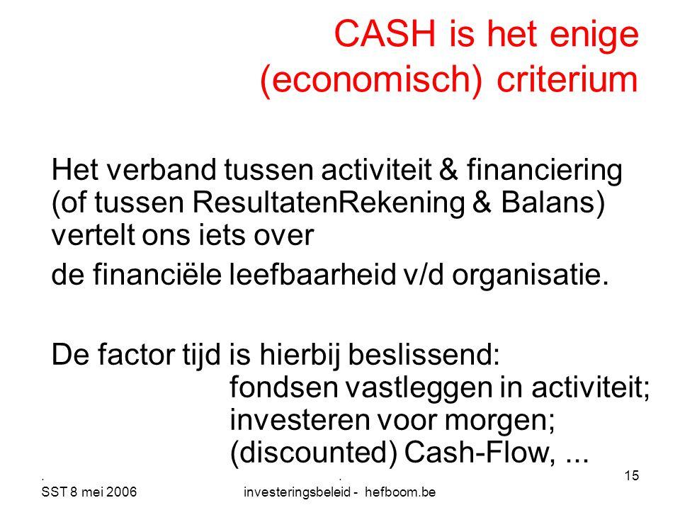 CASH is het enige (economisch) criterium