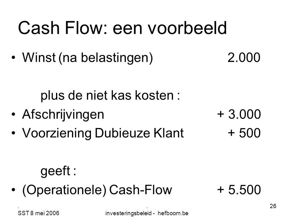 Cash Flow: een voorbeeld