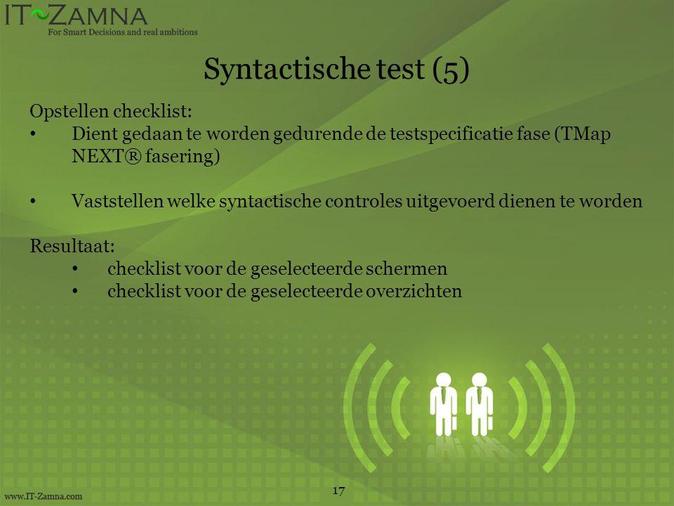 Syntactische test (5) Opstellen checklist: