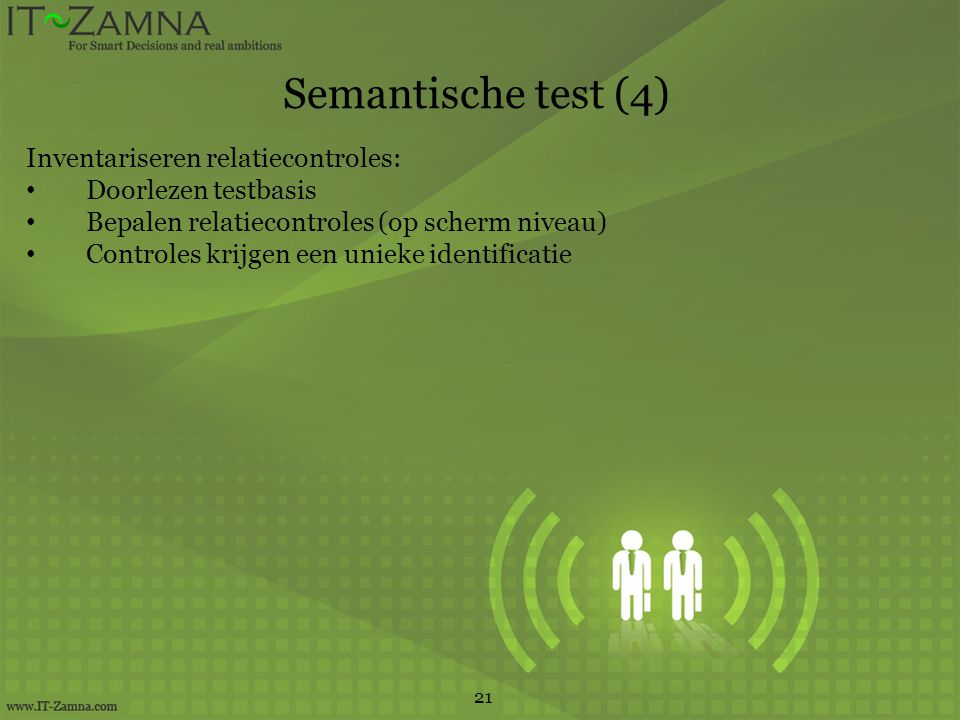 Semantische test (4) Inventariseren relatiecontroles:
