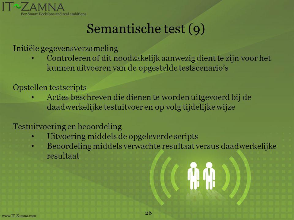 Semantische test (9) Initiële gegevensverzameling