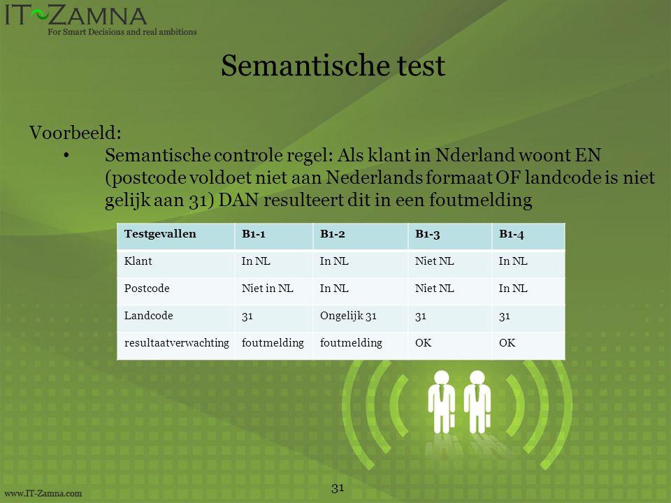 Semantische test Voorbeeld: