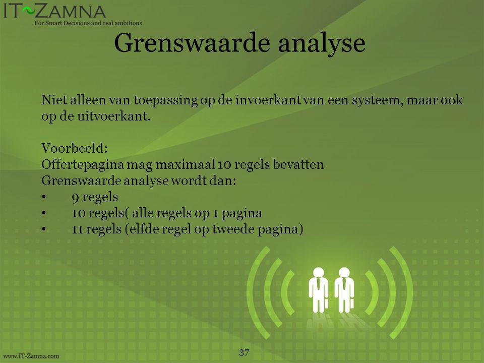 Grenswaarde analyse Niet alleen van toepassing op de invoerkant van een systeem, maar ook. op de uitvoerkant.