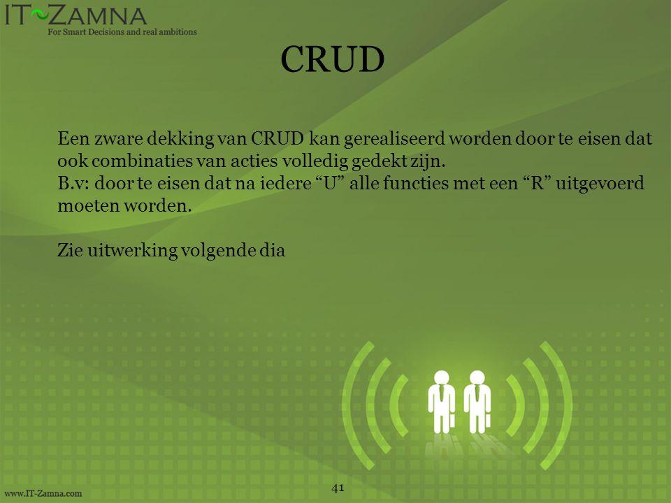 CRUD Een zware dekking van CRUD kan gerealiseerd worden door te eisen dat ook combinaties van acties volledig gedekt zijn.