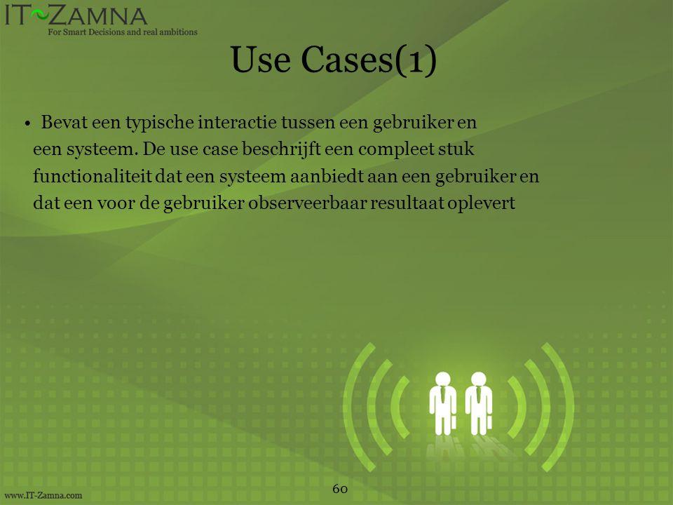 Use Cases(1) Bevat een typische interactie tussen een gebruiker en