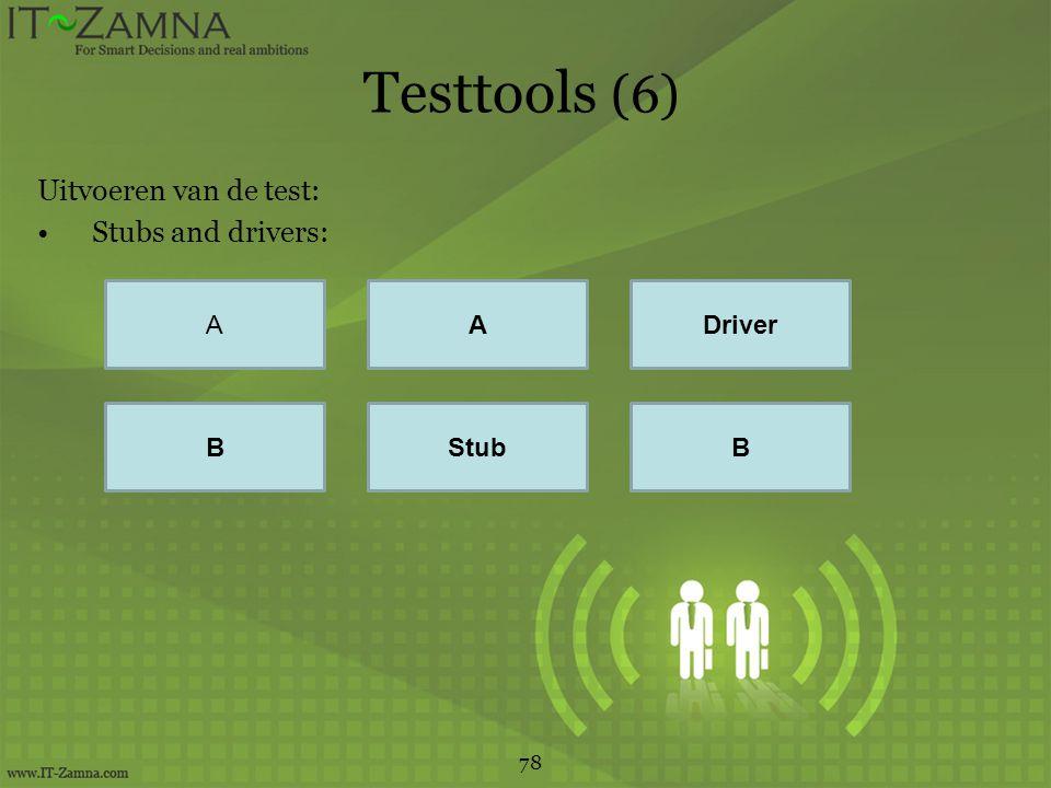 Testtools (6) Uitvoeren van de test: Stubs and drivers: A A Driver B