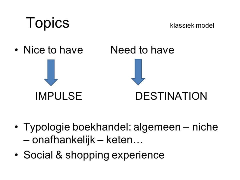 Topics klassiek model Nice to have Need to have IMPULSE DESTINATION