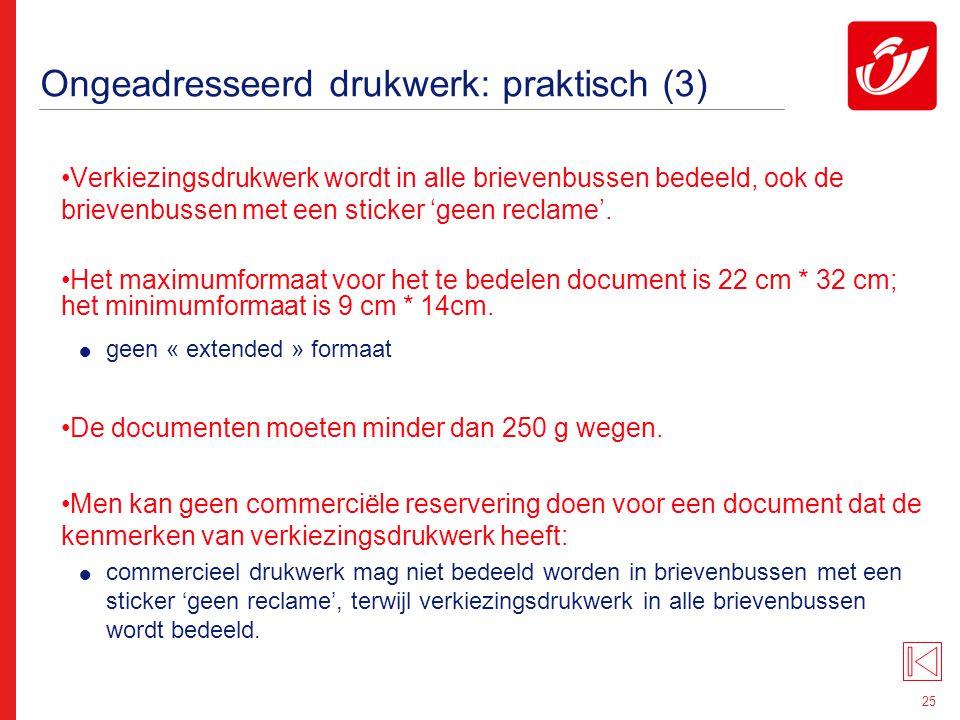 Ongeadresseerd drukwerk: tarieven (1)