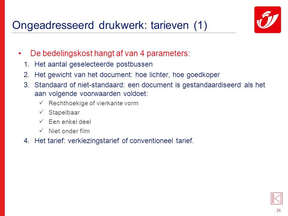 Ongeadresseerd drukwerk: tarieven (2)