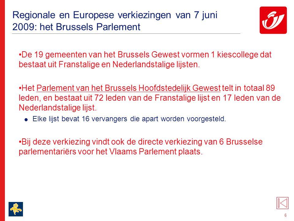 Regionale en Europese verkiezingen van 7 juni 2009: het Waals Parlement