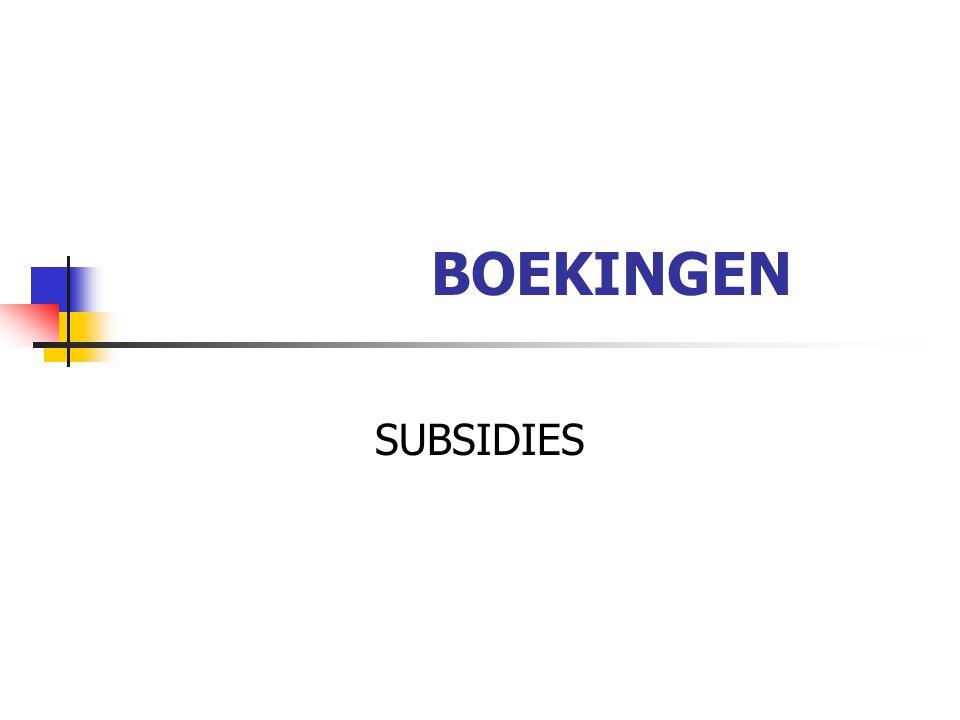 BOEKINGEN SUBSIDIES
