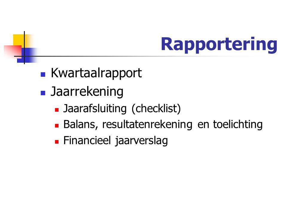 Rapportering Kwartaalrapport Jaarrekening Jaarafsluiting (checklist)