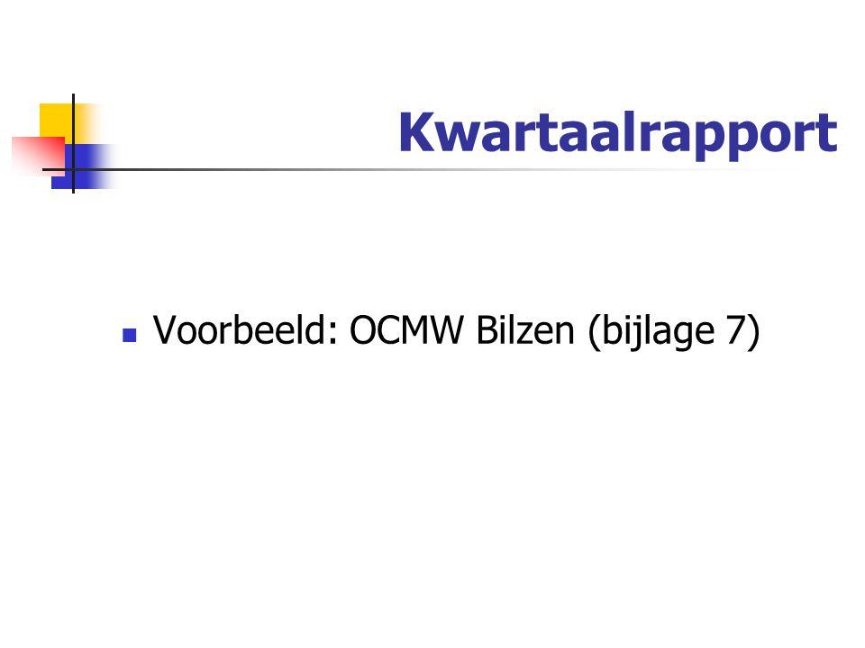 Kwartaalrapport Voorbeeld: OCMW Bilzen (bijlage 7)