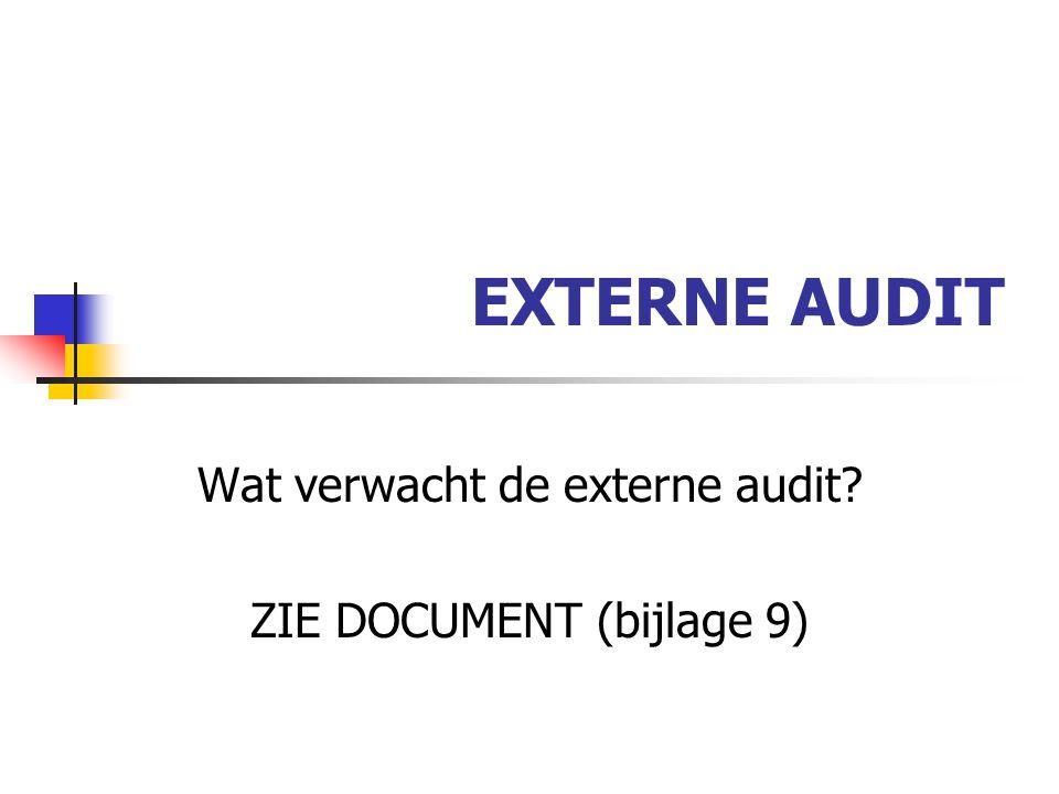 Wat verwacht de externe audit ZIE DOCUMENT (bijlage 9)