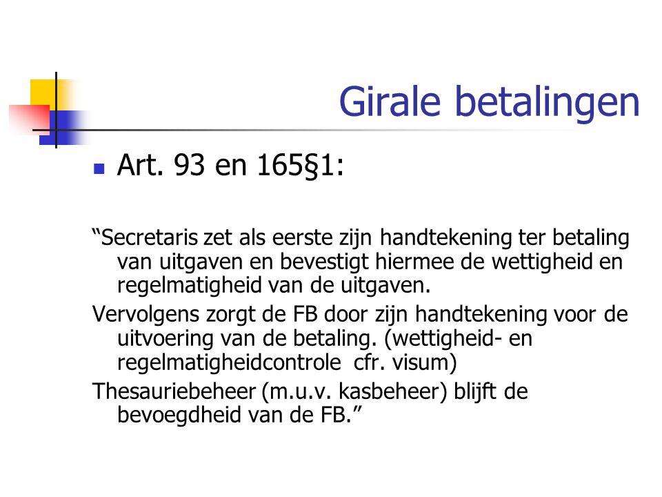 Girale betalingen Art. 93 en 165§1: