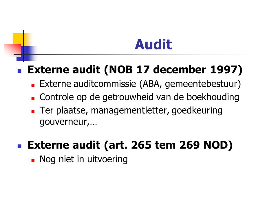 Audit Externe audit (NOB 17 december 1997)