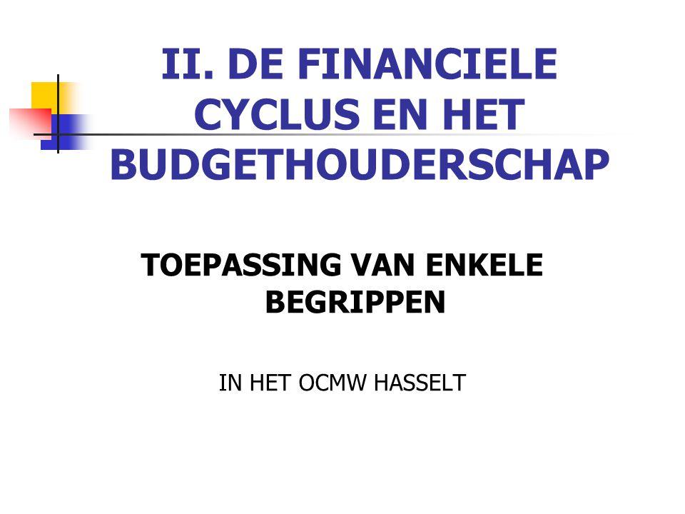 II. DE FINANCIELE CYCLUS EN HET BUDGETHOUDERSCHAP