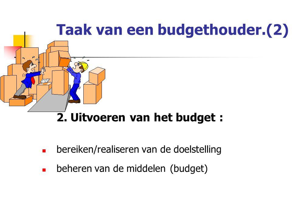 Taak van een budgethouder.(2)