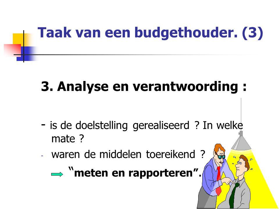 Taak van een budgethouder. (3)
