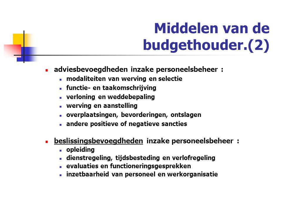 Middelen van de budgethouder.(2)