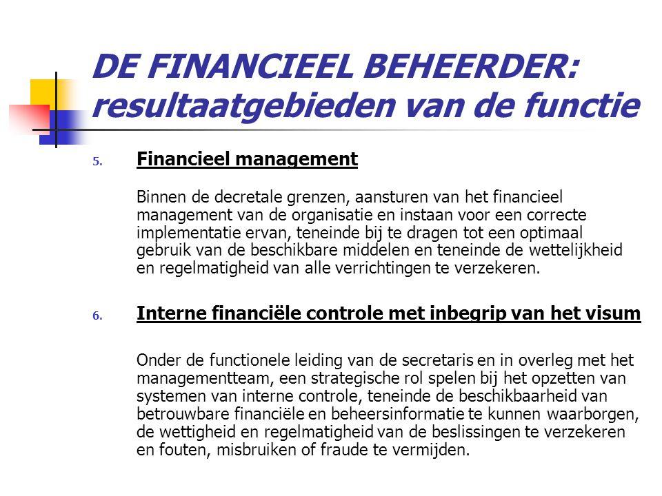 DE FINANCIEEL BEHEERDER: resultaatgebieden van de functie