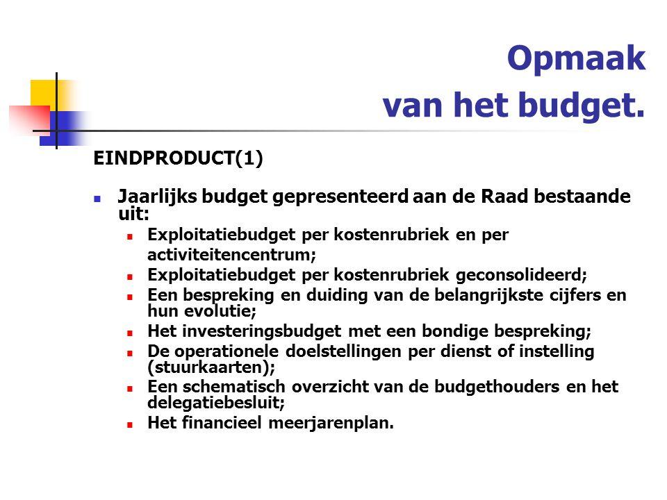 Opmaak van het budget. EINDPRODUCT(1)