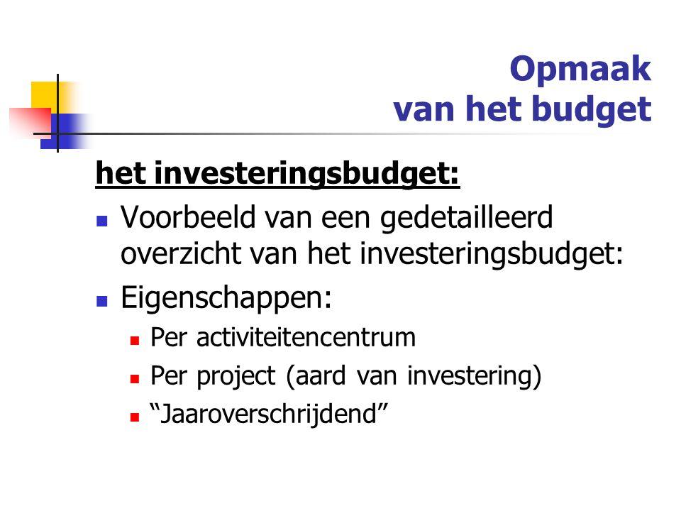 Opmaak van het budget het investeringsbudget:
