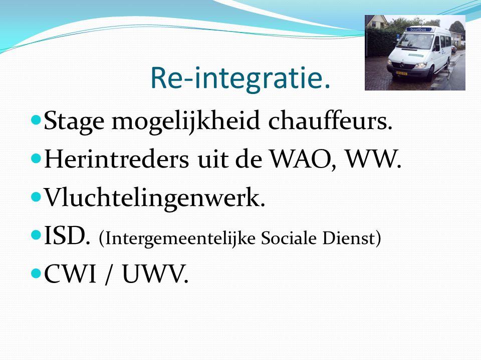 Re-integratie. Stage mogelijkheid chauffeurs.