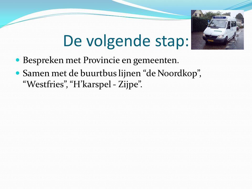 De volgende stap: Bespreken met Provincie en gemeenten.