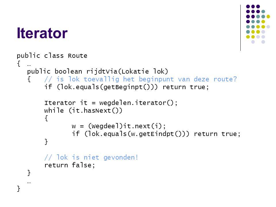 Iterator public class Route { … public boolean rijdtVia(Lokatie lok)