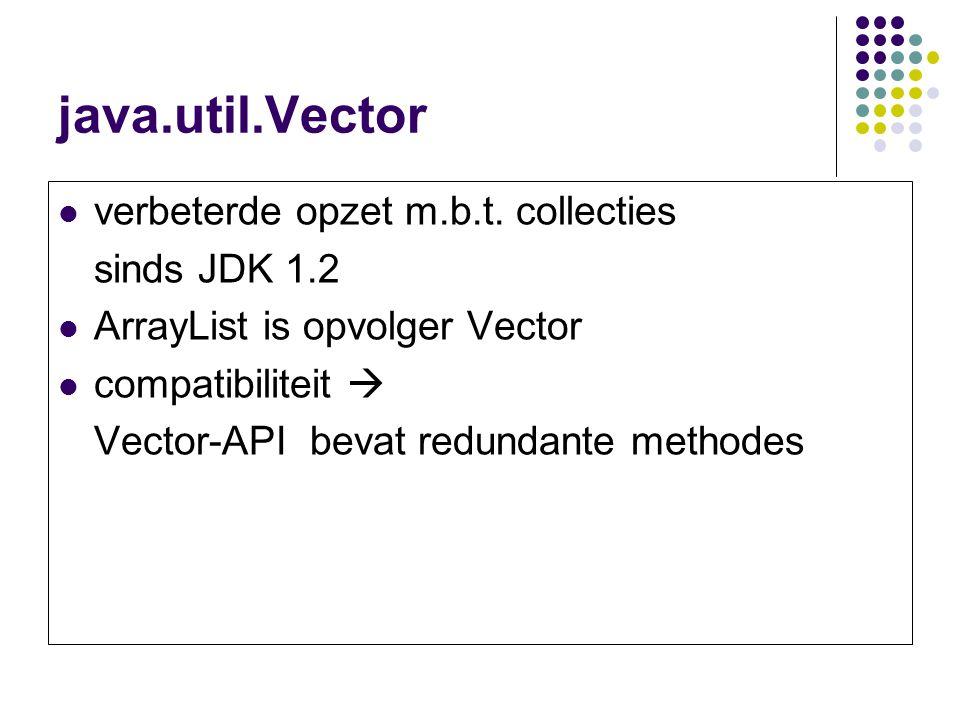 java.util.Vector verbeterde opzet m.b.t. collecties sinds JDK 1.2