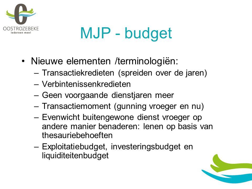 MJP - budget Nieuwe elementen /terminologiën: