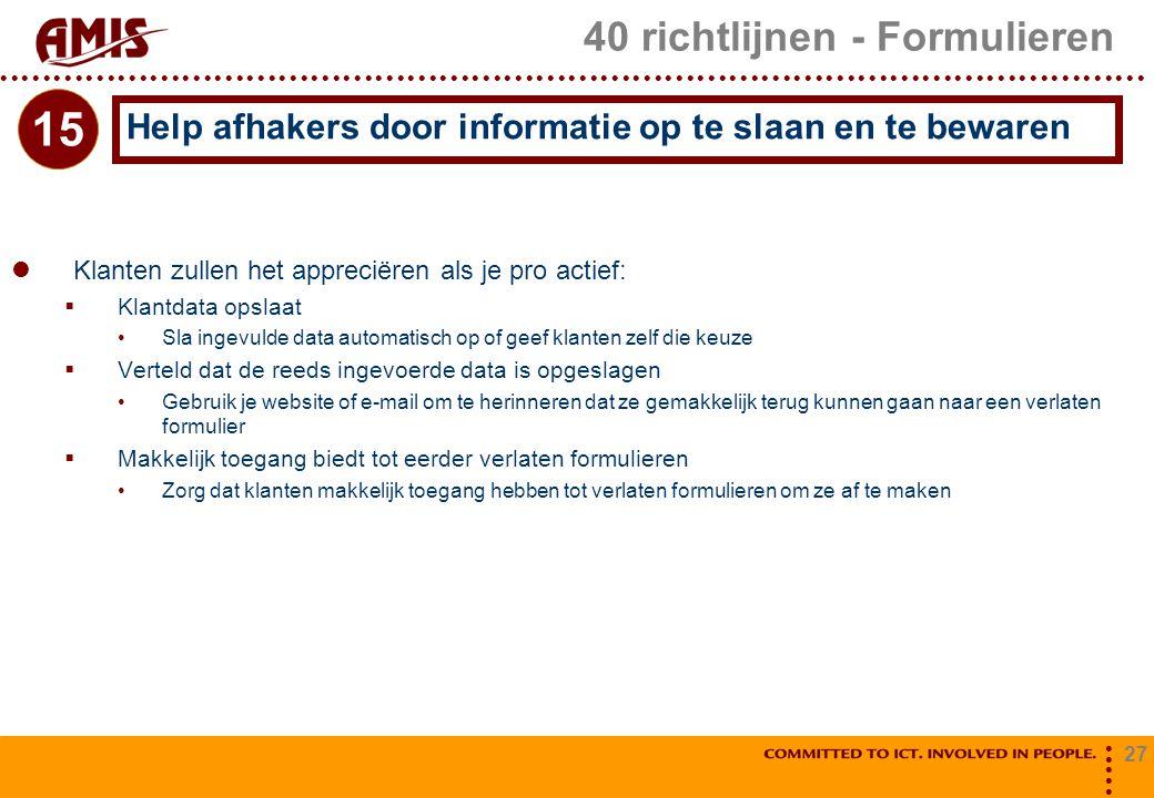 40 richtlijnen - Formulieren