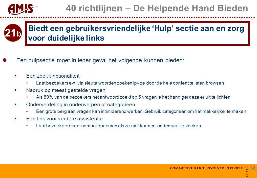 40 richtlijnen – De Helpende Hand Bieden
