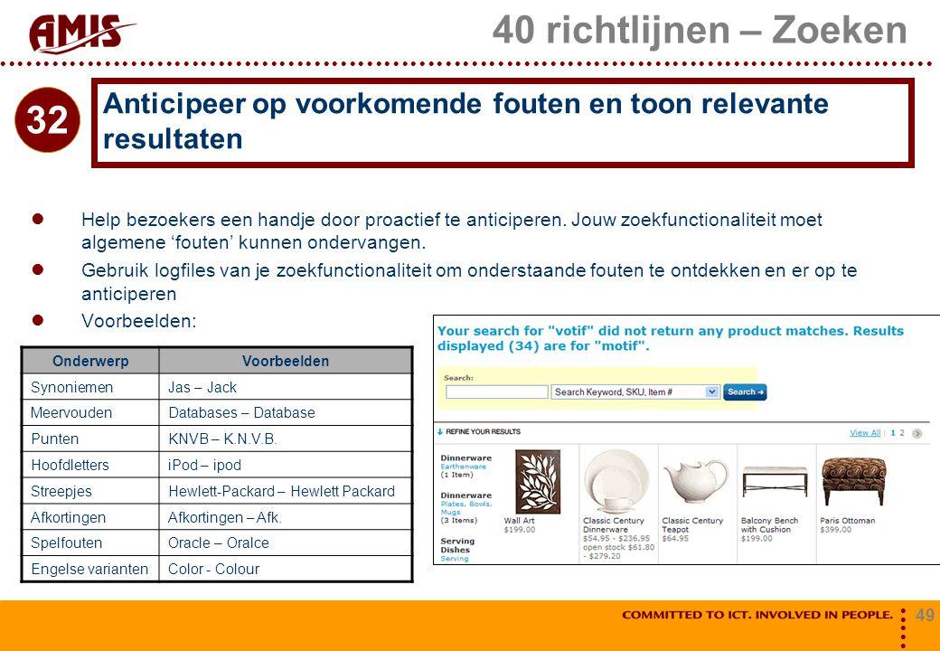 40 richtlijnen – Zoeken Anticipeer op voorkomende fouten en toon relevante resultaten. 32.