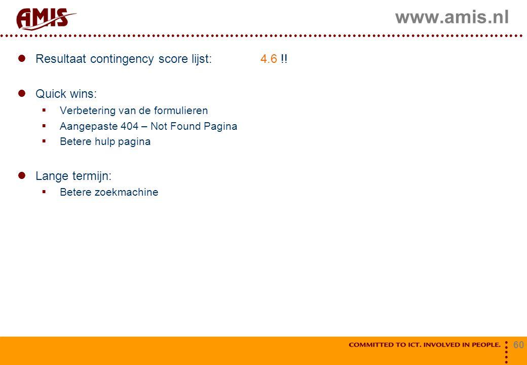 www.amis.nl Resultaat contingency score lijst: 4.6 !! Quick wins: