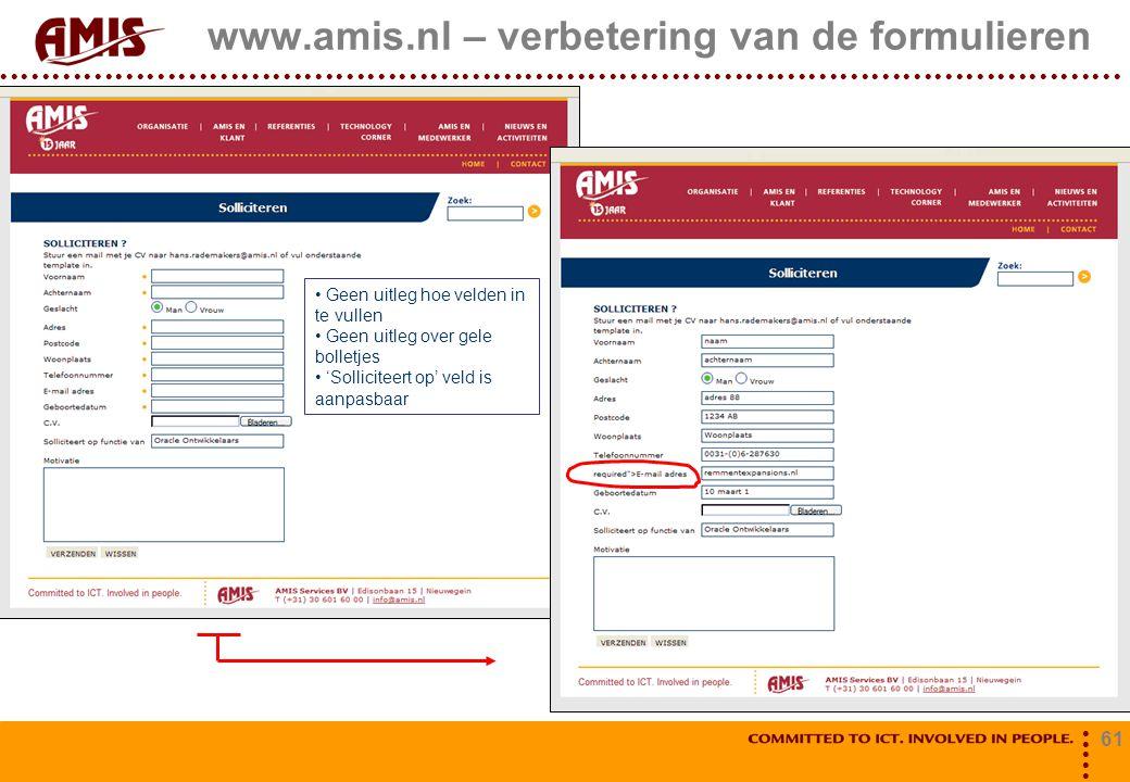 www.amis.nl – verbetering van de formulieren