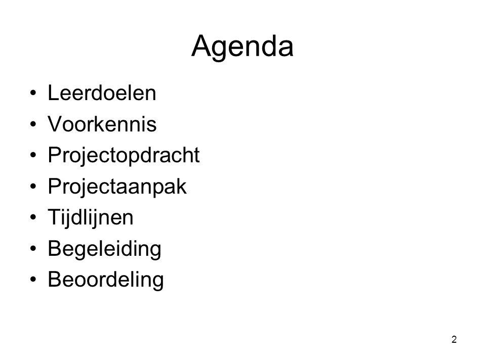 Agenda Leerdoelen Voorkennis Projectopdracht Projectaanpak Tijdlijnen
