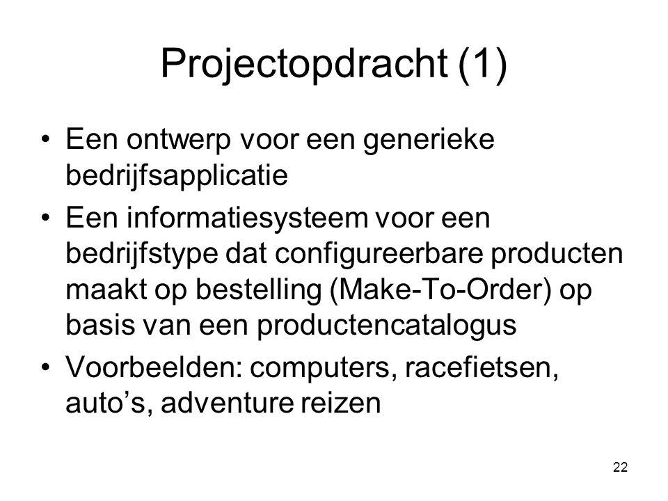 Projectopdracht (1) Een ontwerp voor een generieke bedrijfsapplicatie