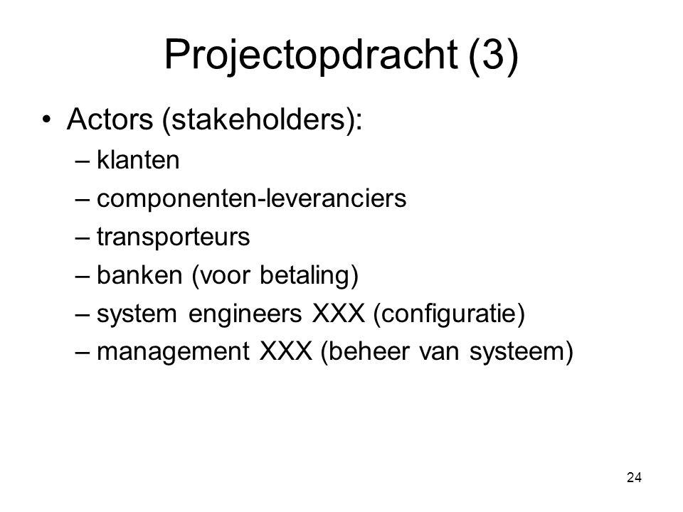 Projectopdracht (3) Actors (stakeholders): klanten