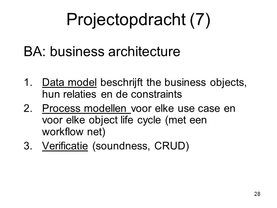Projectopdracht (7) BA: business architecture